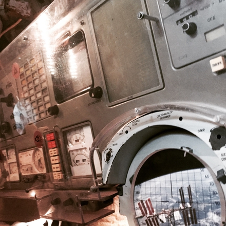 The interior of a space shuttle's escape pod at The Space Museum, located just outside Toulouse.