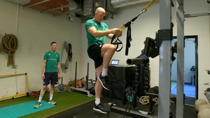 Paul O'Connell trains on Tuesday at Celtic Manor