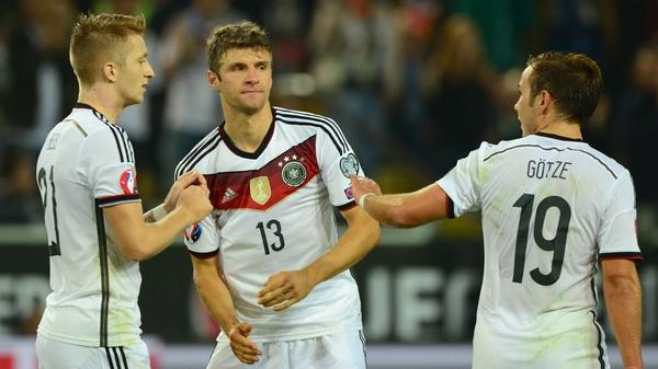 L-R: Marco Reus, Thomas Mueller and Mario Goetze