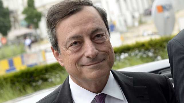 ECB president Mario Draghi says that downside risks to the euro zone economy have increased