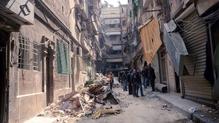 Aleppo sa tSiria, a bhfuil cuid mhór fulaingthe aige ó 2011 anois.