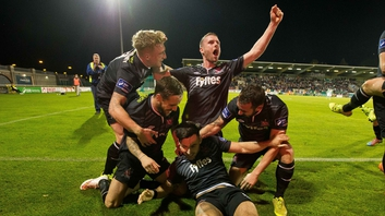Dundalk players celebrate Richie Towell's goal against Rovers