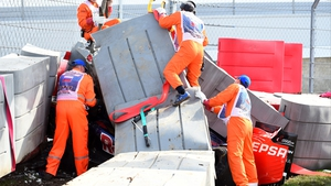 Carlos Sainz ploughed his Toro Rosso into crash barriers at the Sochi track