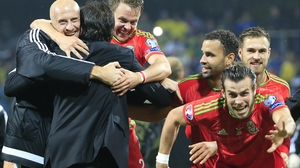 Gareth Bale leads Welsh celebrations they sealed Euro qualification