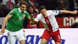 Lewandowski (right) was on target against Ireland last October