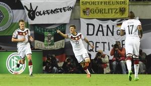 Max Kruse celebrates scoring Germany's winner against Georgia