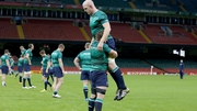 Sean O'Brien and Paul O'Connell warming up before the win over France