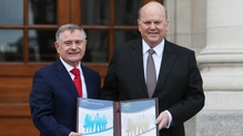Ministers Michael Noonan and Brendan Howlin at a press call earlier today