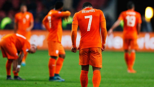 Mephis Depay cuts a disconsolate figure after Holland's defeat to the Czech Republic