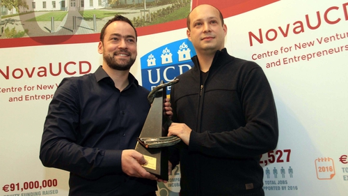 Dr Trevor Parsons and Dr Viliam Holub, co-founders of Logentries, receiving the NovaUCD 2013 Innovation Award