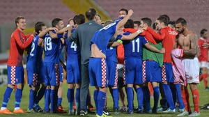 Croatia celebrate qualification after their 1-0 win in Malta