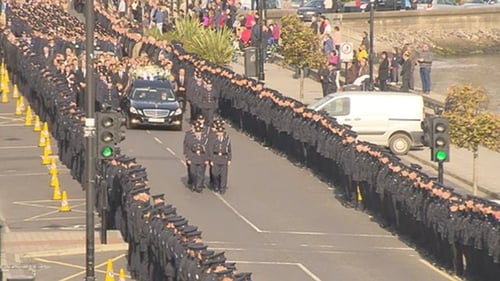 4,000 serving and retired gardaí attended the funeral, over 2,000 in uniform