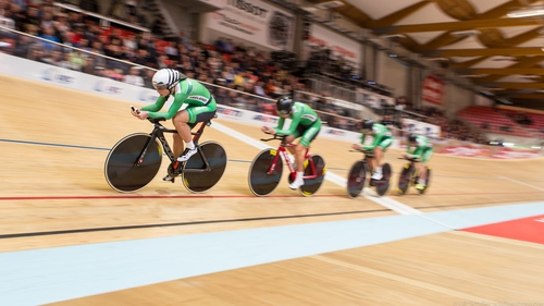 The Irish women's pursuit team  at the European Track Championships. Photo: Ulf Schiller