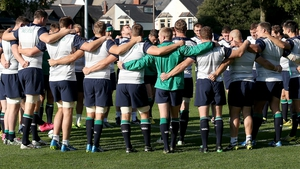 The Ireland team huddle together at the captain's run in Cardiff