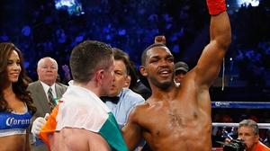 Tureano Johnson celebrates his unanimous decision win
