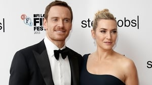 Fassbender and co-star Kate Winslet at the premiere in London