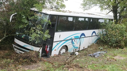 The bus carrying 29 passengers went off the road at around 10.10pm