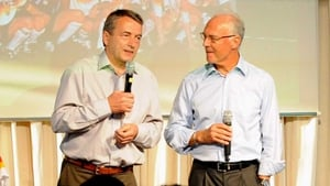 Wolfgang Niersbach with Franz Beckenbauer, who was president of the 2006 World Cup bid