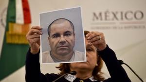 Attorney General Arely Gomez shows a picture of Joaquin 'El Chapo' Guzman