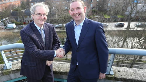 EIB Vice President Jonathan Taylor with enet CEO Conal Henry at today's Dublin seminar