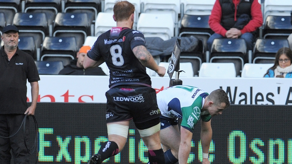 Connacht's Matt Healy scores his side's opening try