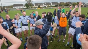 Na Piarsaigh clubman William O'Callaghan celebrates with the players after the game