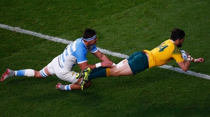Adam Ashley-Cooper goes over for the Aussies