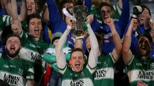 Kieran Lillis lifts the trophy after Portlaoise's county final success