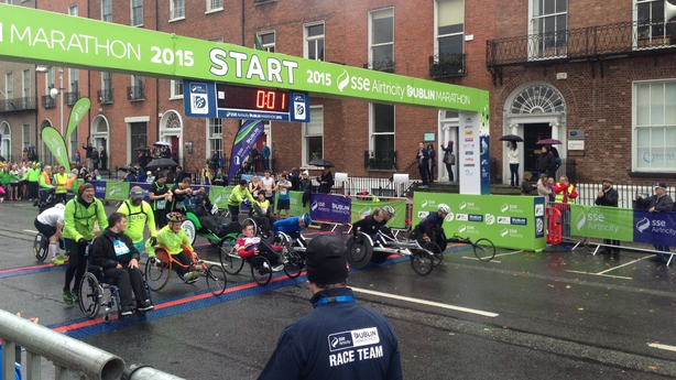 The wheelchair race began at 8.55 this morning