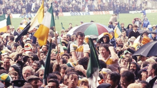 Seamus Darby held aloft by Offaly fans after their shock win over Kerry in the 1982 All-Ireland Football Final