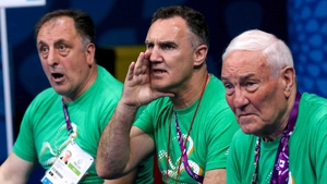 Billy Walsh (C) at the recent Baku 2015 European Games, where Ireland won gold, silver and bronze medals