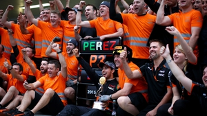 Force India celebrate Sergio Perez's third place finish in the Formula One Grand Prix of Russia in October
