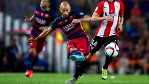 Javier Mascherano saw red with seven minutes to go in the win over Eibar on Sunday