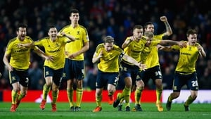 Middlesbrough players react to their penalty shoot-out victory over Manchester United