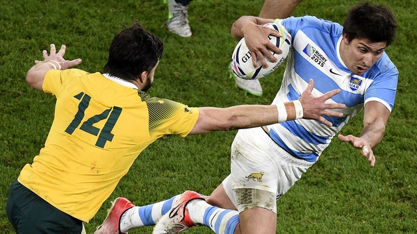 Argentina and Munster full-back Lucas Amorosino (R) during the World Cup semi-final against Australia