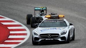 Nico Rosberg behind the safety car in Austin, Texas