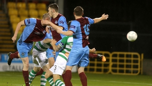 Drogheda's Michael Daly scores the opening goal of the game
