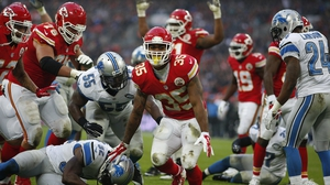 Charcandrick West, No 35, of Kansas City Chiefs celebrates his touchdown