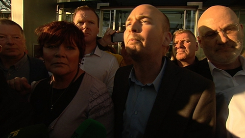 Joan Collins TD and Paul Murphy TD addressed the crowds outside Dublin District Court