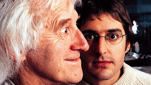 Theroux (right) spent three months filming Savile (left) in 1999 for the original programme and questioned him about longstanding rumours that he was a paedophile, with the former Jim'll Fix It presenter dismissing the allegations Picture: BBC