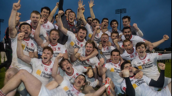 Tyrone players celebrate after winning the U21 football championship in April