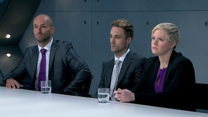 Brett Butler-Smythe, project manager Sam Curry and Natalie Dean receive their boardroom grilling