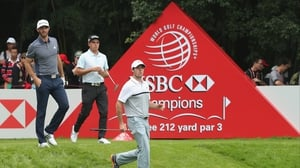 Dustin Johnson, Rickie Fowlerand Rory McIlroy during the first round at Sheshan International