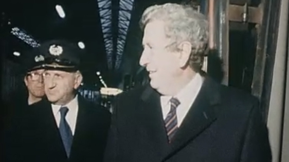 Garret FitzGerald boards a train to Cork while canvassing for the general election of November 1982.