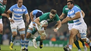 Jamie Heaslip in action against Argentina at the Rugby World Cup