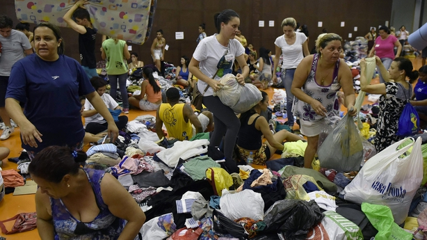 Evacuees gather in local centre after Brazilian mud slide