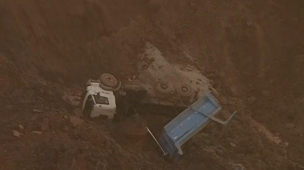 Truck swept away in Brazilian mud slide