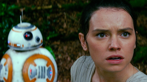 BB-8 and Daisy Ridley in Star Wars: The Force Awakens
