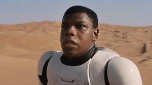 John Boyega as disillusioned Imperial stormtrooper, Finn in Star Wars: The Force Awakens