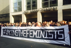 Waking The Feminists gathered outside the Abbey Theatre in Dublin last November